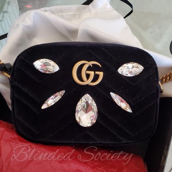 650c21281745 Gucci Bags | Marmont Mini Black Crossbody Bag Crystals | Poshmark